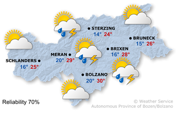 Variable cloudy, thunderstorms in the afternoon